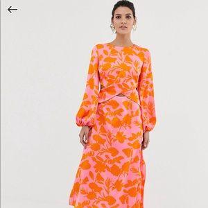 Asos pink and orange silk dress